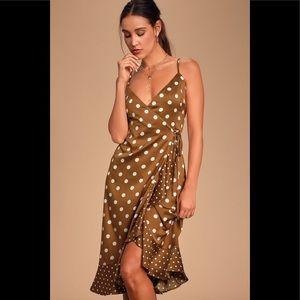 NWT Lulu's Brown Love Dottie Satin Wrap Dress XL